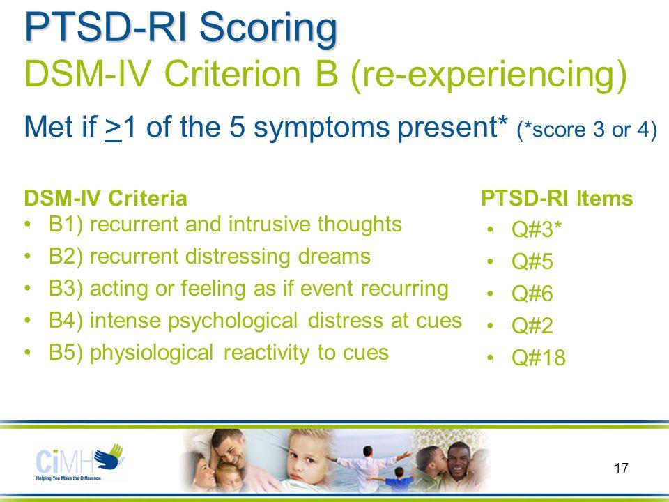 dsm iv ptsd criteria b is met