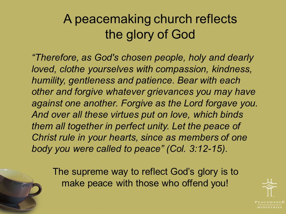 A peacemaking church reflects the glory of God