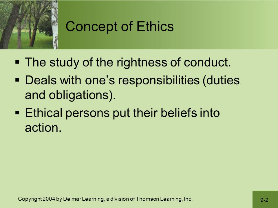 the concept of ethical obligation The concept of ethics is a highly complex one  ethics, or moral obligation,  ethical obligations of an employee accessed june 15,.