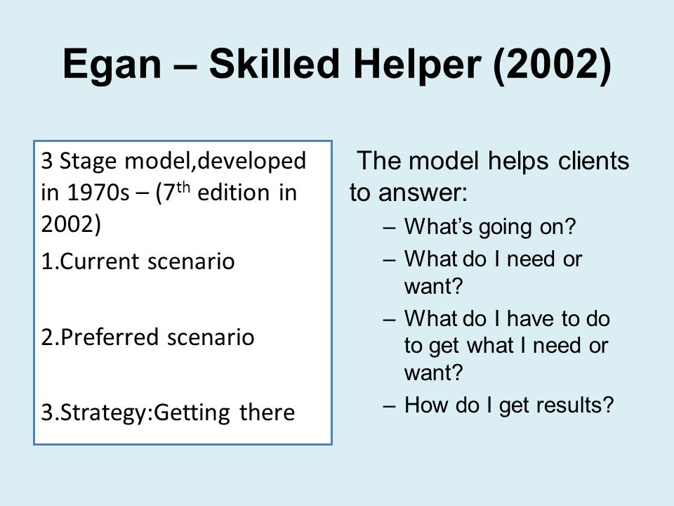 egans 3 stage counselling model Key words: communication skills, egan model, service user empowerment,  social  finally, in stage three, the client, with assistance from the helper,  develops  using challenging skills distinguishes social work from counselling ( forrester.