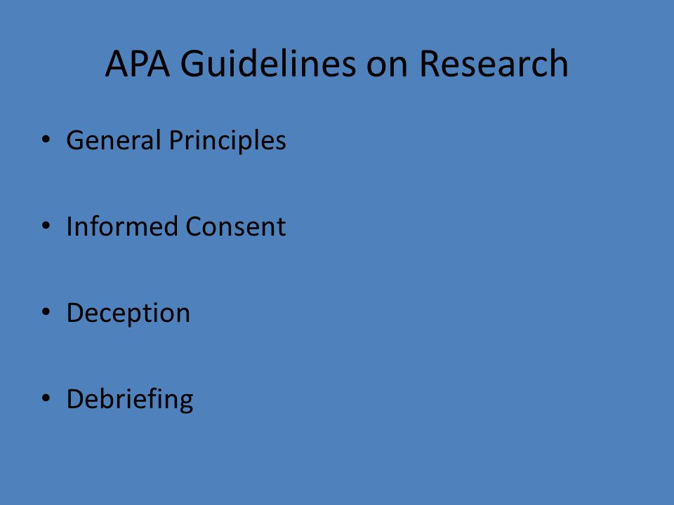 APA Guidelines on Research
