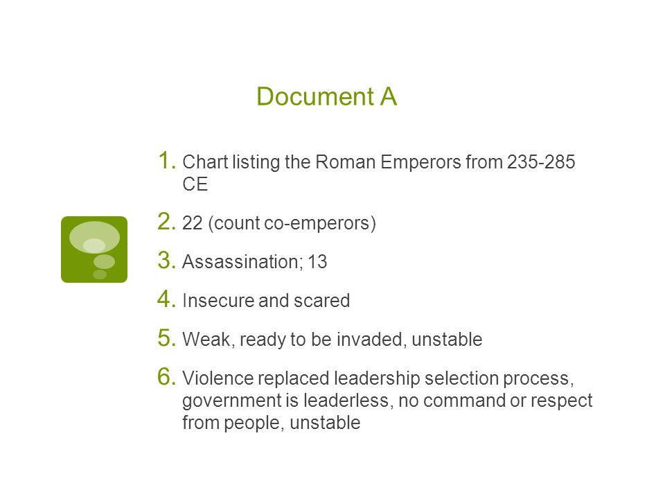 Document A Chart listing the Roman Emperors from 235-285 CE