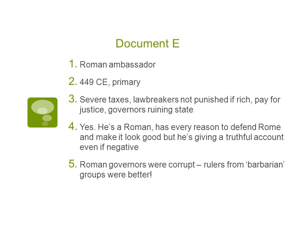 Document E Roman ambassador 449 CE, primary