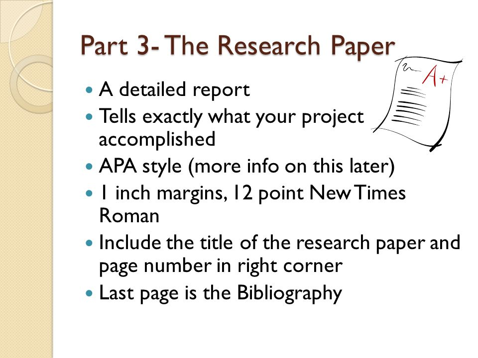 parts research paper apa style
