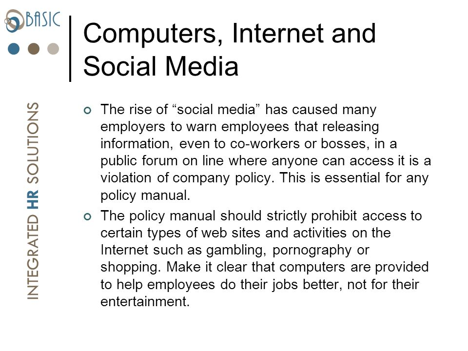 an internet usage policy provides employees Sample acceptable usage policy  employees must use only software that is authorised by (acme corporation) on (acme corporation's) computers authorised software must be used in accordance with the  including internet and email use, in order to ensure systems security and effective operation, and to protect against misuse.