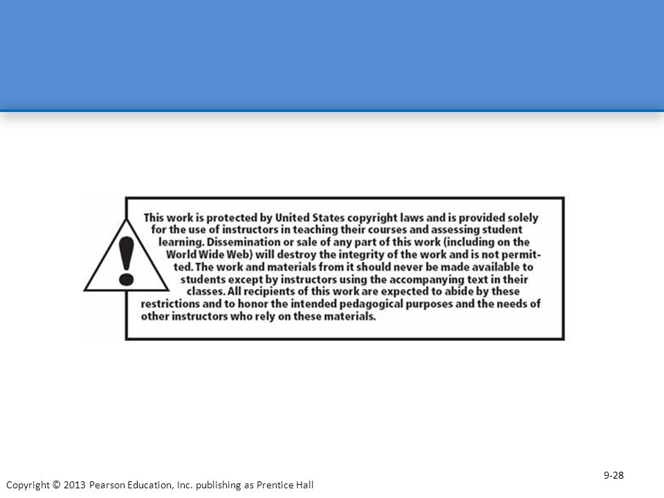28 9-28 Copyright © 2013 Pearson Education, Inc. publishing as Prentice Hall 28