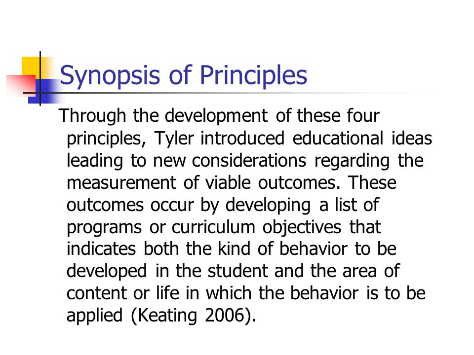 Synopsis of Principles
