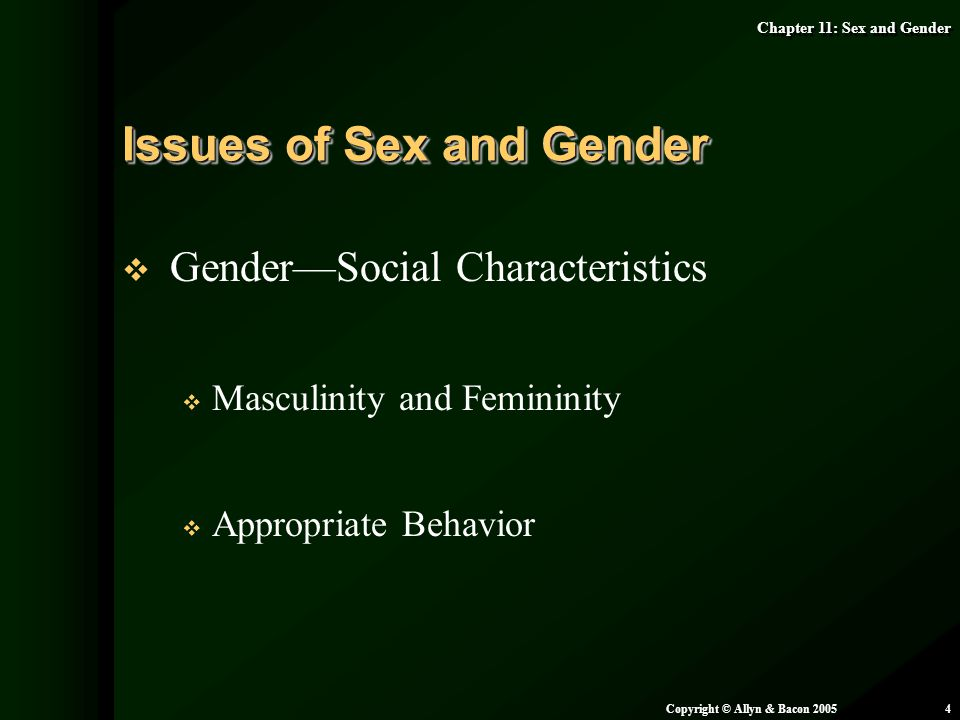 Issues of Sex and Gender