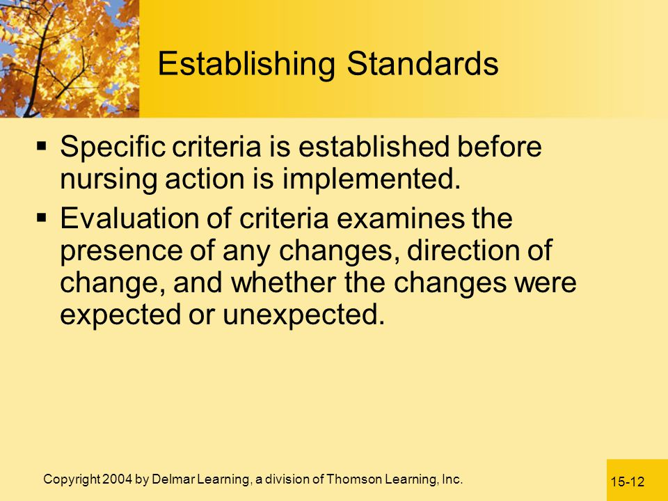 Establishing Standards