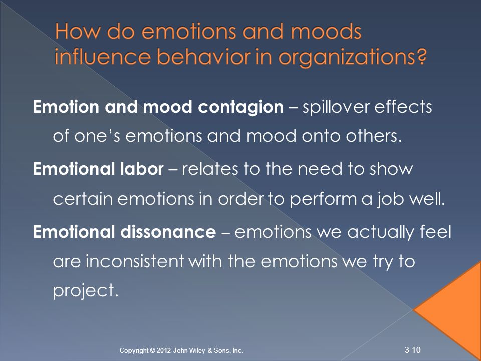 emotions attitudes and job satisfaction ppt The authors used experience-sampling methodology to investigate the dynamic relationships among insomnia, emotions, and job satisfaction over a period of 3 weeks, 45 employees completed surveys each workday, producing a total of 550 observations results revealed that, within individuals, insomnia .