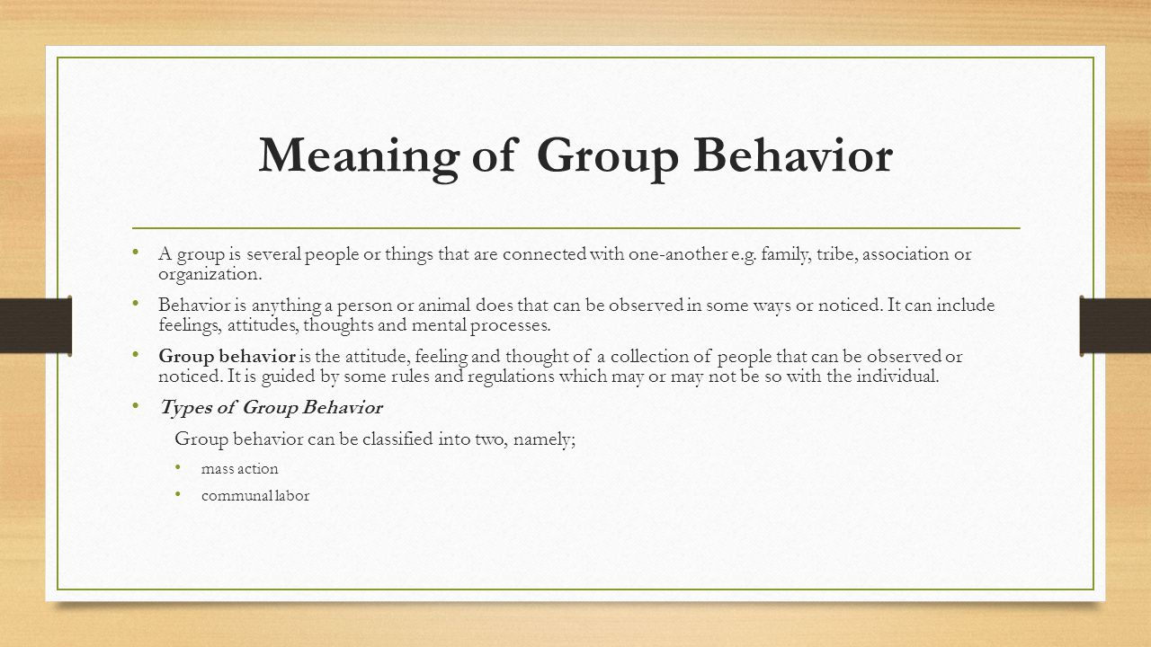 Meaning of Group Behavior