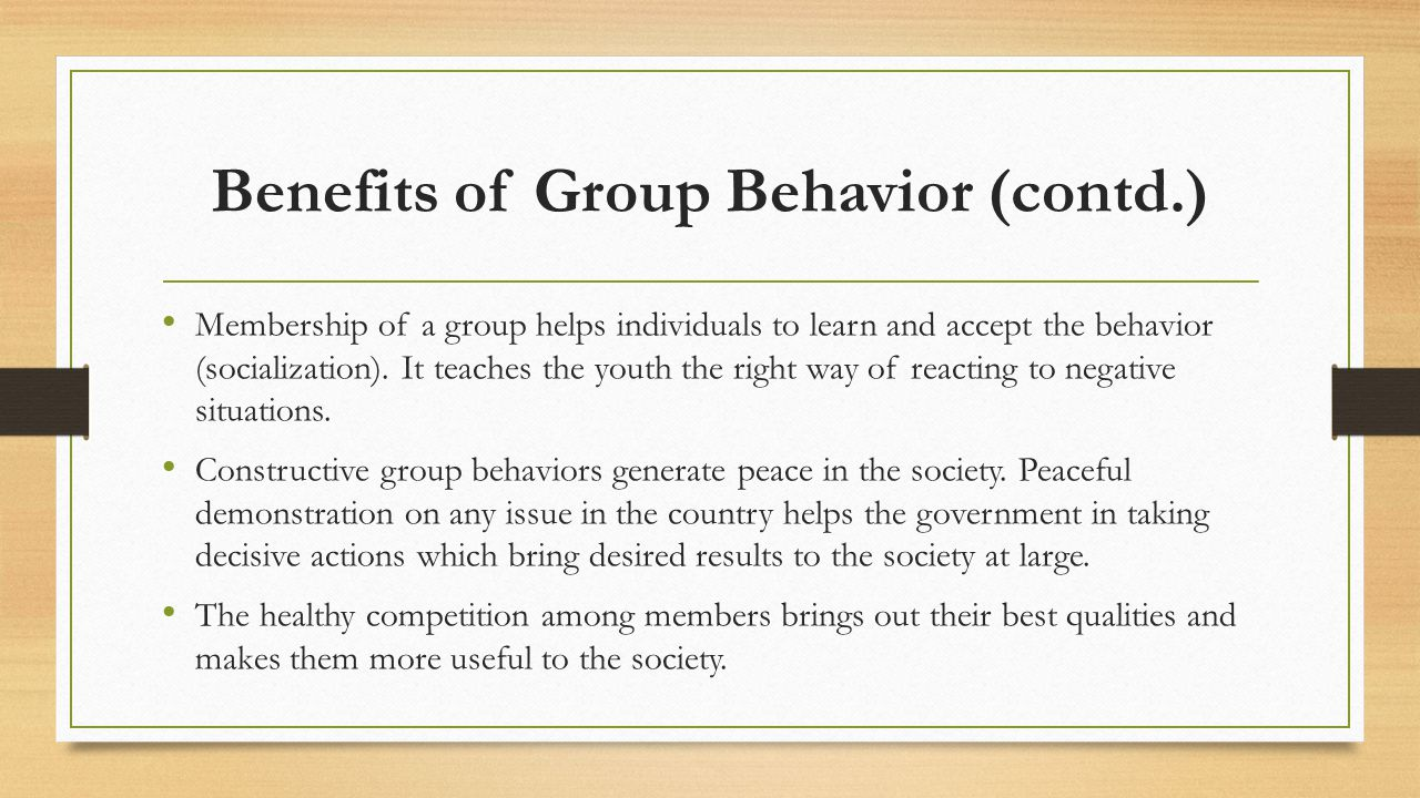 Benefits of Group Behavior (contd.)