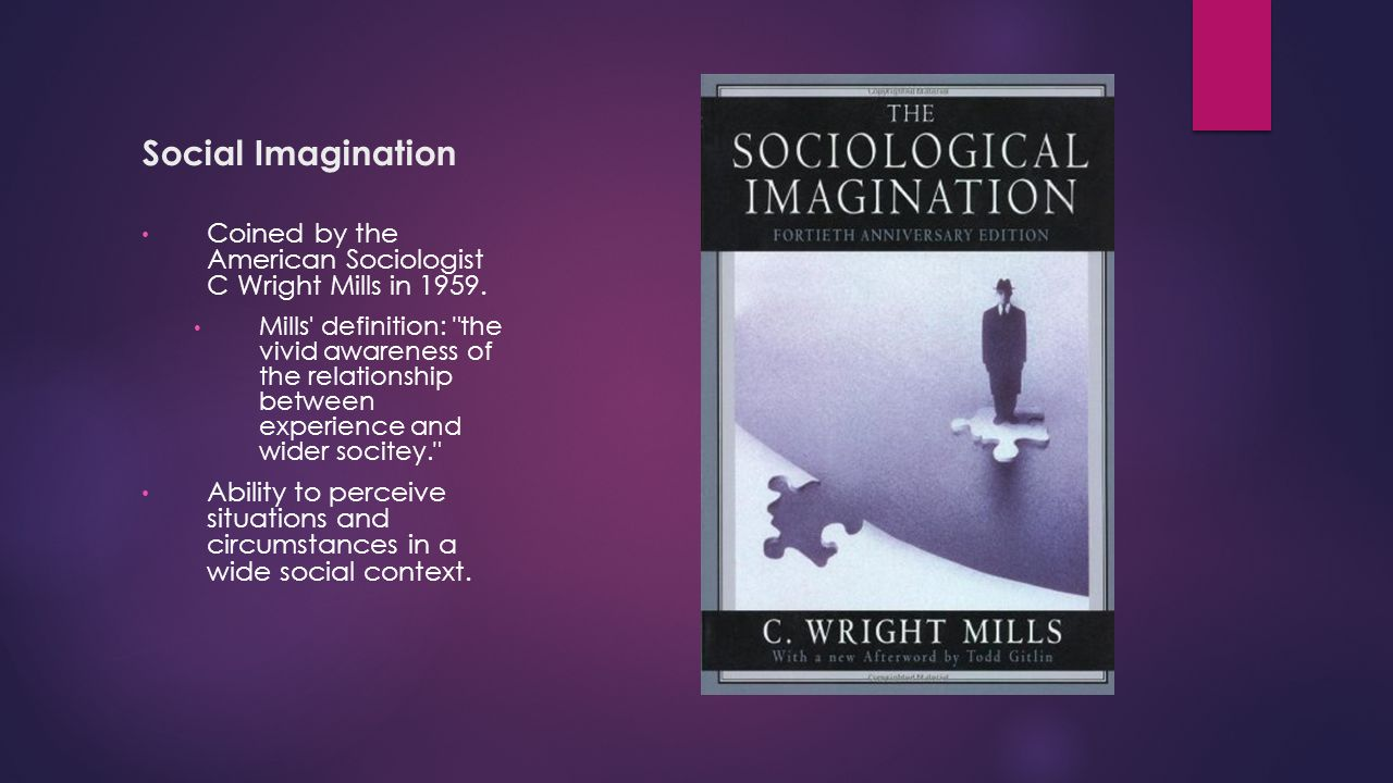 the sociological imagination by c wright mills an american sociologist C wright mills: c wright mills, american sociologist who, with hans h gerth, applied and popularized max weber's theories in the united states he also applied karl mannheim's theories on the sociology of knowledge to the political thought and behaviour of intellectuals.