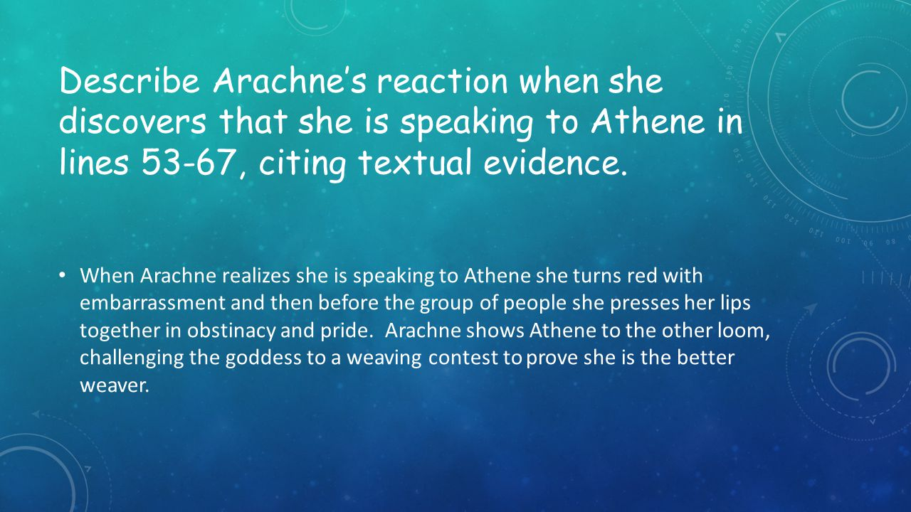 Describe Arachne's reaction when she discovers that she is speaking to Athene in lines 53-67, citing textual evidence.