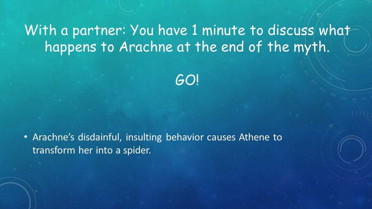 With a partner: You have 1 minute to discuss what happens to Arachne at the end of the myth. GO!