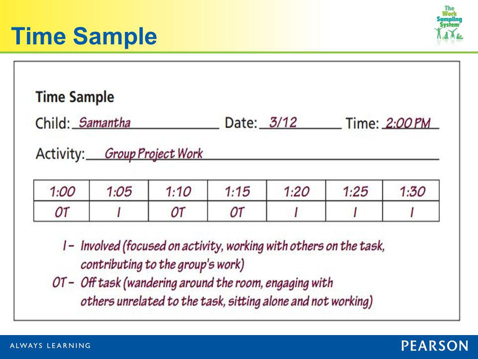 how to create a pysical time sample of a child