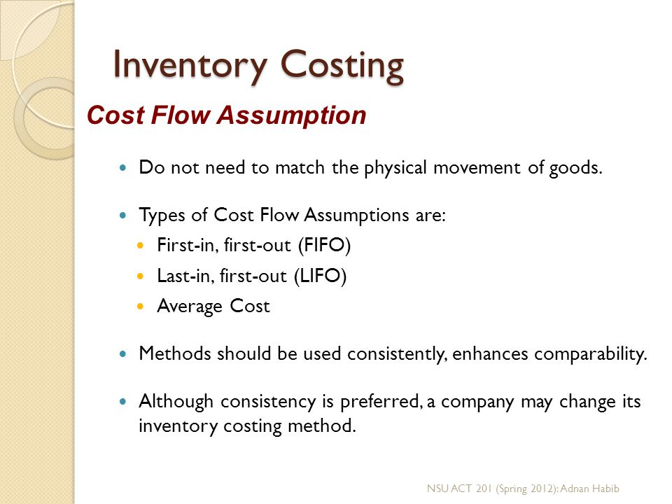 Inventory Costing Cost Flow Assumption