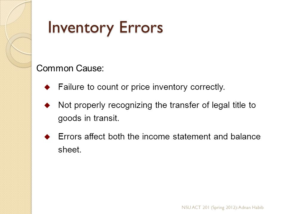 Inventory Errors Common Cause: