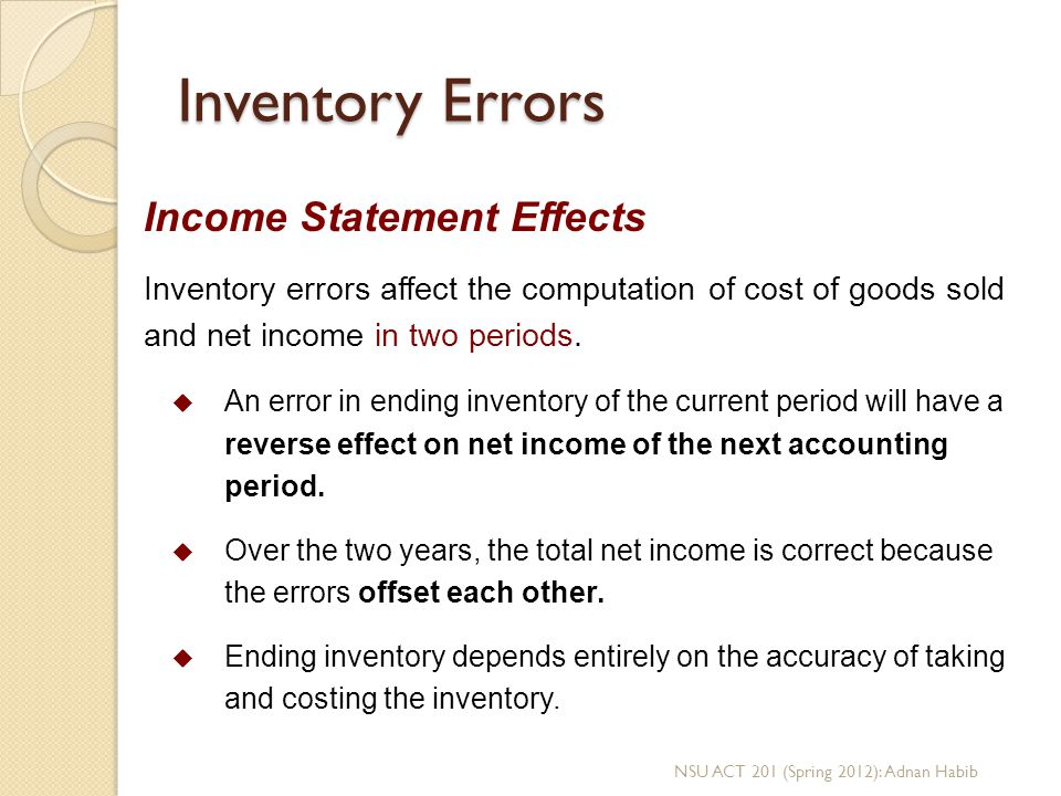 Inventory Errors Income Statement Effects