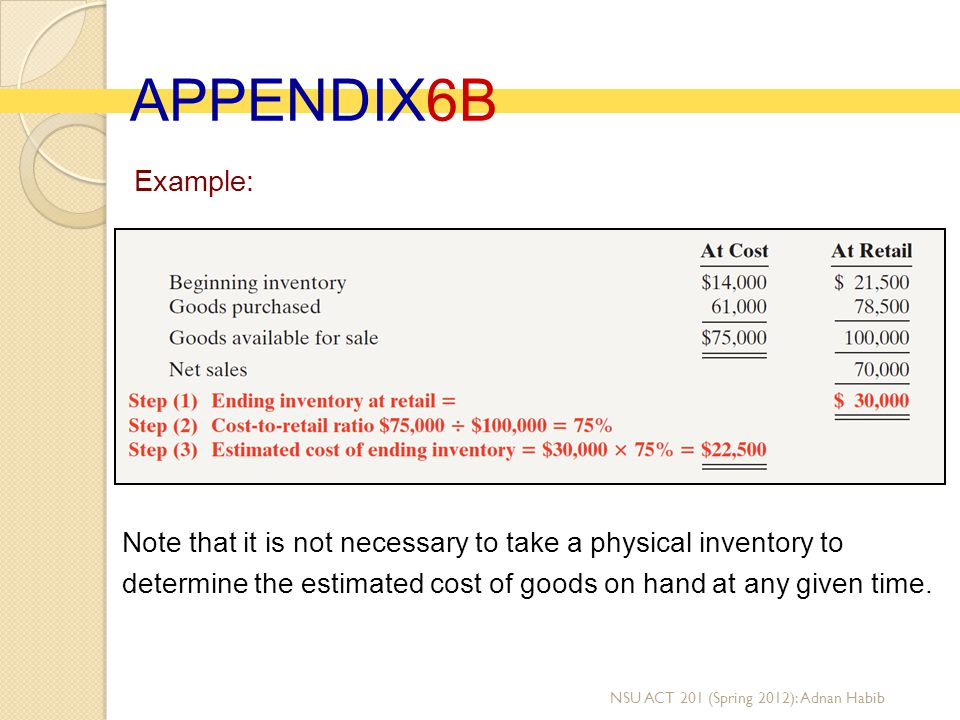 APPENDIX6B Example: Note that it is not necessary to take a physical inventory to determine the estimated cost of goods on hand at any given time.