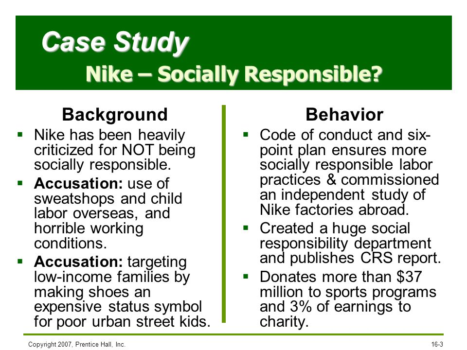 case study nike sweatshops inc Free case study solution & analysis cases: nike: the sweatshop debate 1 should nike be held responsible for working conditions in foreign factories that it does.