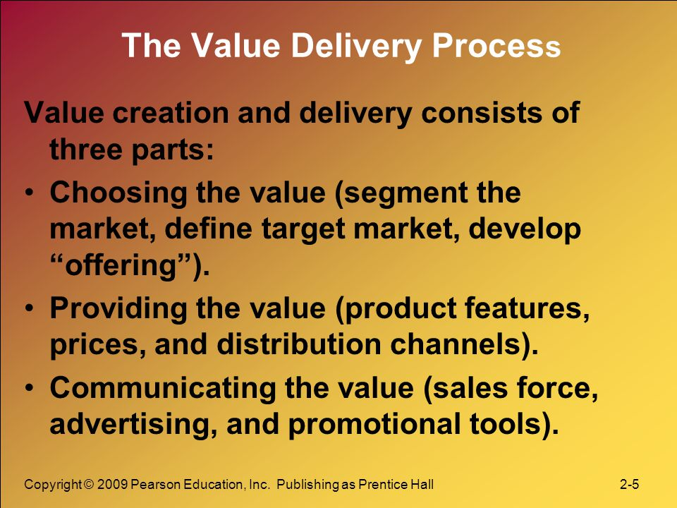 value delivery process in marketing Marketing management marketing and customer value l value delivery process l three phases l value chain l part 8 1  marketing management marketing and customer value l value delivery process l.
