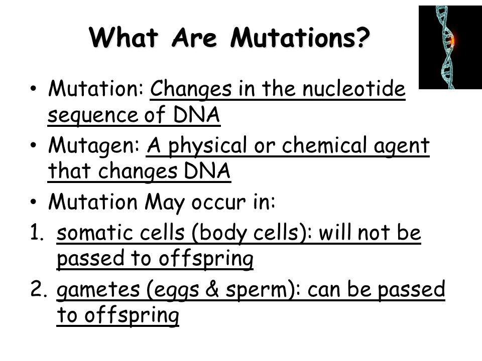 What Are Mutations Mutation: Changes in the nucleotide sequence of DNA. Mutagen: A physical or chemical agent that changes DNA.