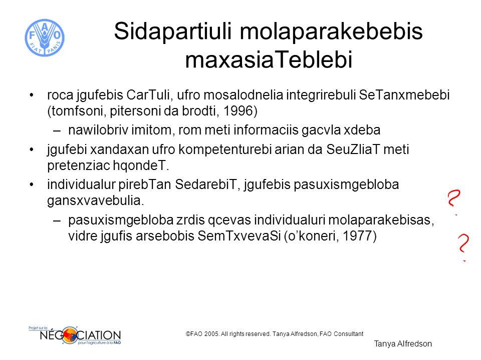 Sidapartiuli molaparakebebis maxasiaTeblebi