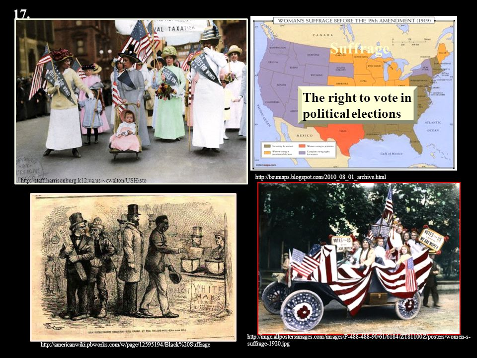 Suffrage 17. The right to vote in political elections