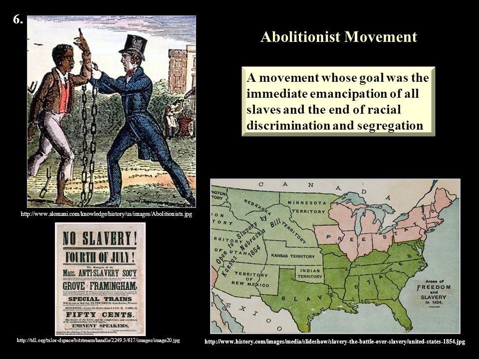 slavery and the abolitionist movement in the united states Facts, information and articles about abolitionist movement, one of the causes of the civil war abolitionist movement summary: the abolitionist movement in the united states of america was an effort to end slavery in a nation that valued personal freedom and believed all men are created equal.