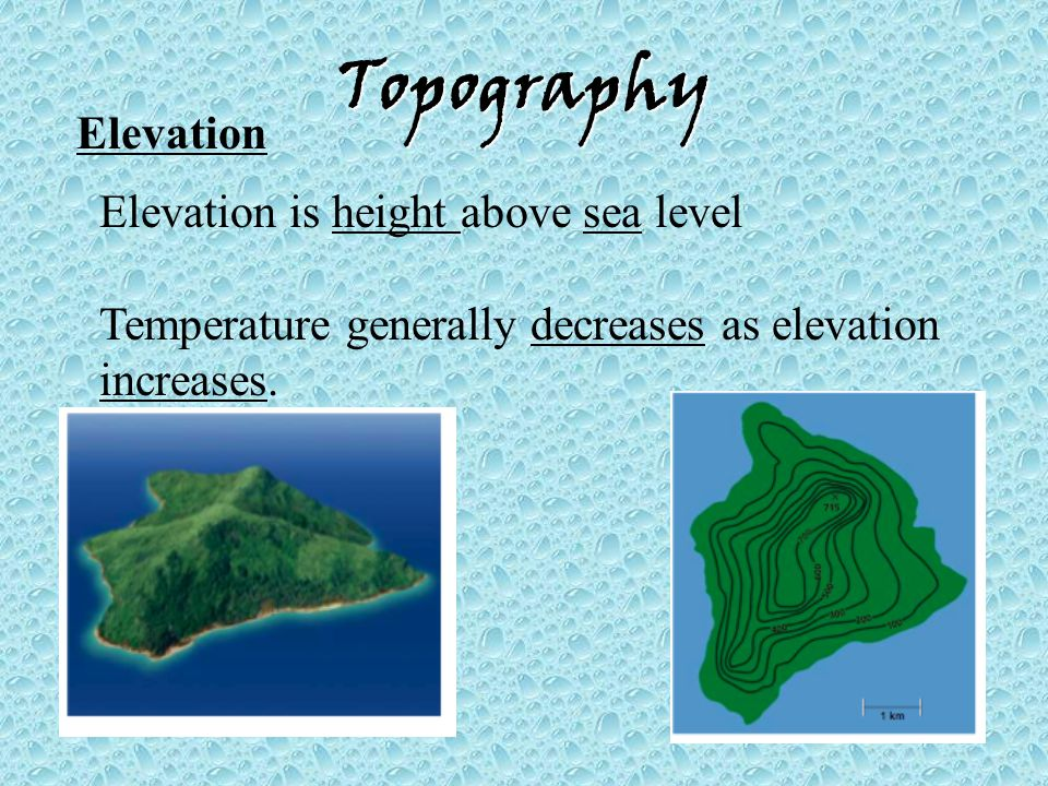 Topography Elevation Elevation is height above sea level