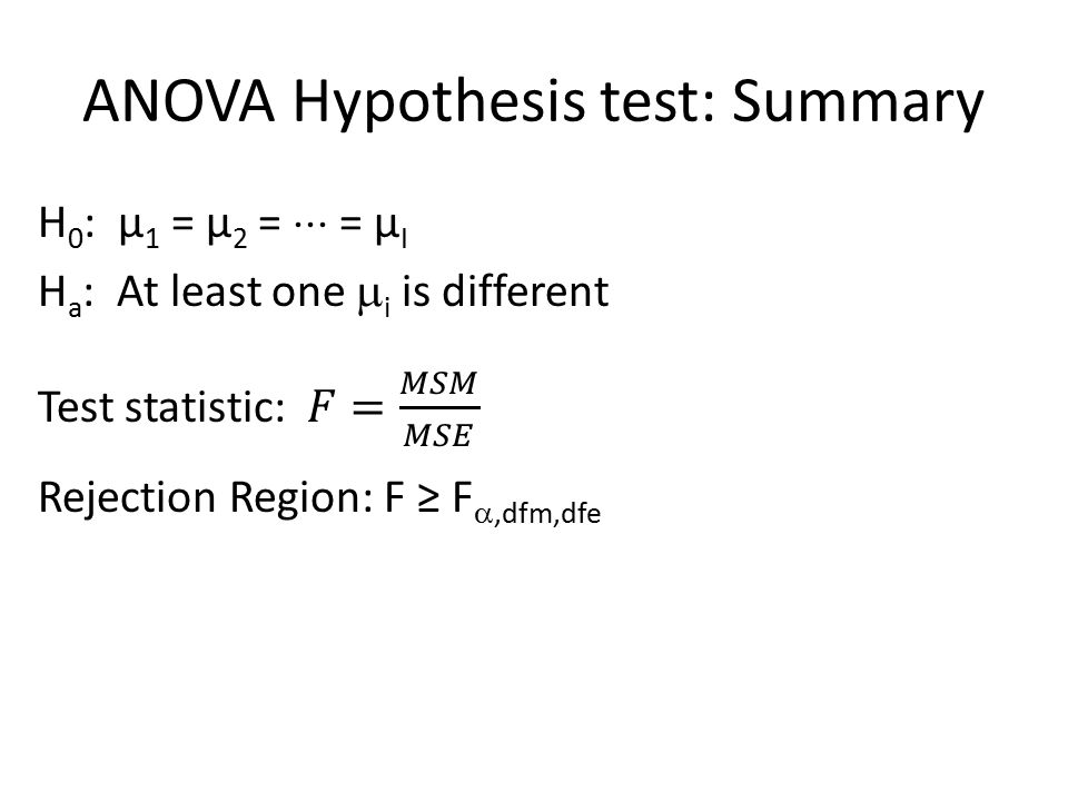 anova hypothesis test A default bayesian hypothesis test for anova designs ruud wetzels, raoul p r r grasman, and eric-jan wagenmakers this article presents a bayesian hypothesis test for analysis of variance (anova) designs the test is an application of stan dard bayesian methods for variable selection in regression mod els.