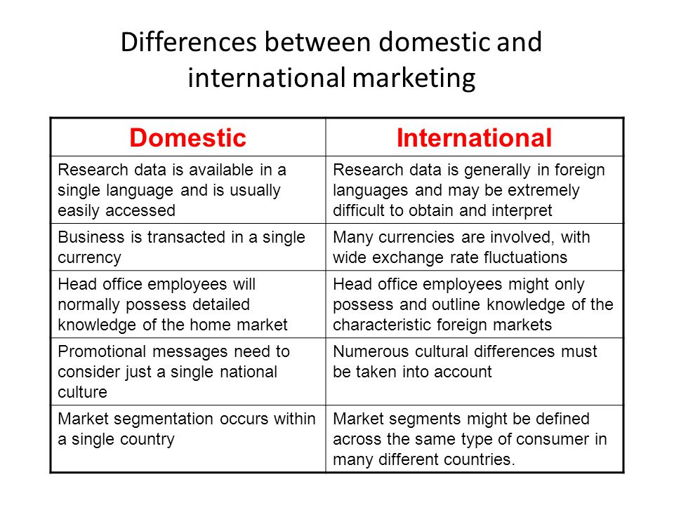differences between domestic and international logistics Besides the obvious—geographic reach—is there a difference between a domestic and global 3pl underwood: the definition of a domestic 3pl is fairly obvious the definition of a global 3pl is harder to pin down because any company that offers logistics services in more than one country can technically call itself a global 3pl.
