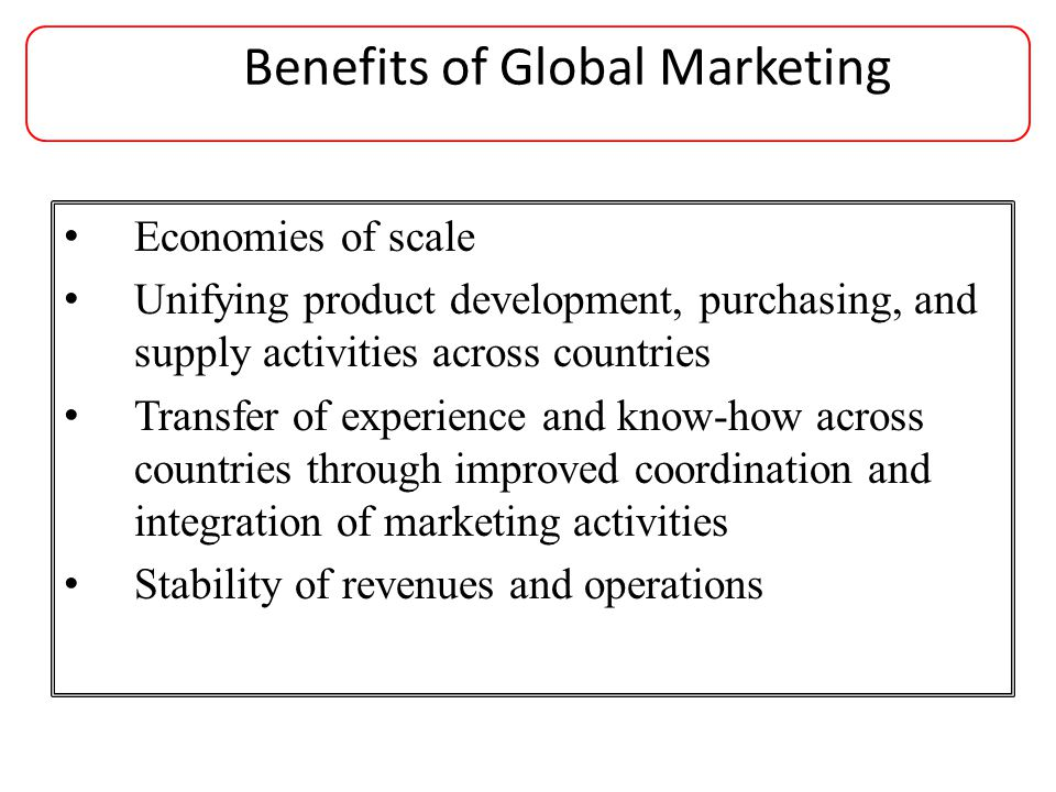 Benefits of Global Marketing