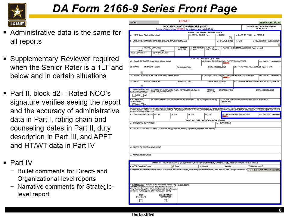 ncoer template - da form 2166 9