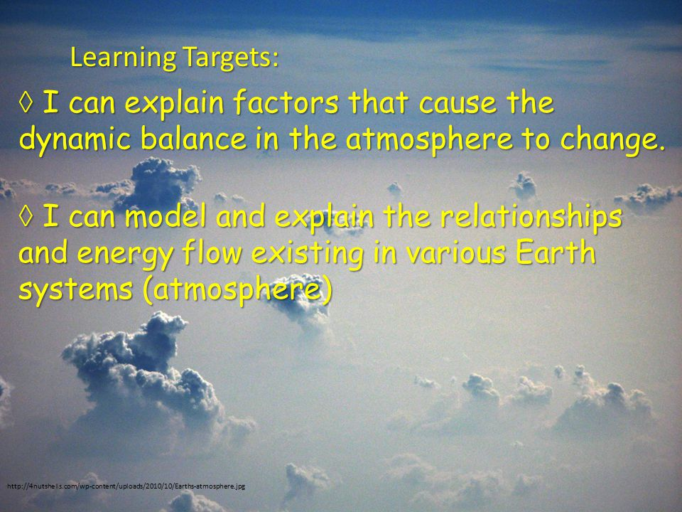 Learning Targets:  I can explain factors that cause the dynamic balance in the atmosphere to change.