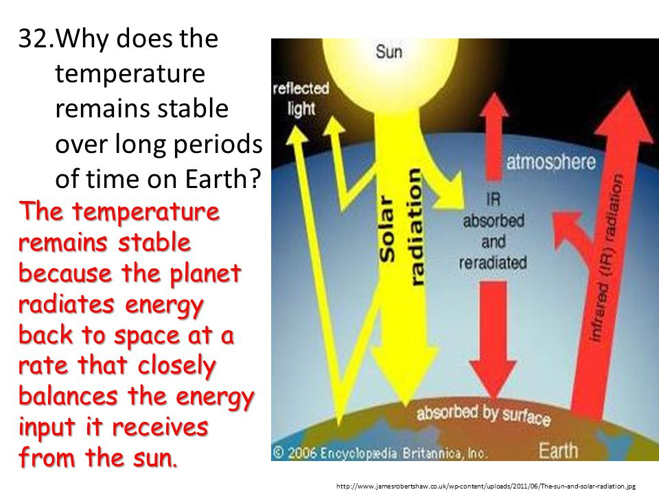 Why does the temperature remains stable over long periods of time on Earth