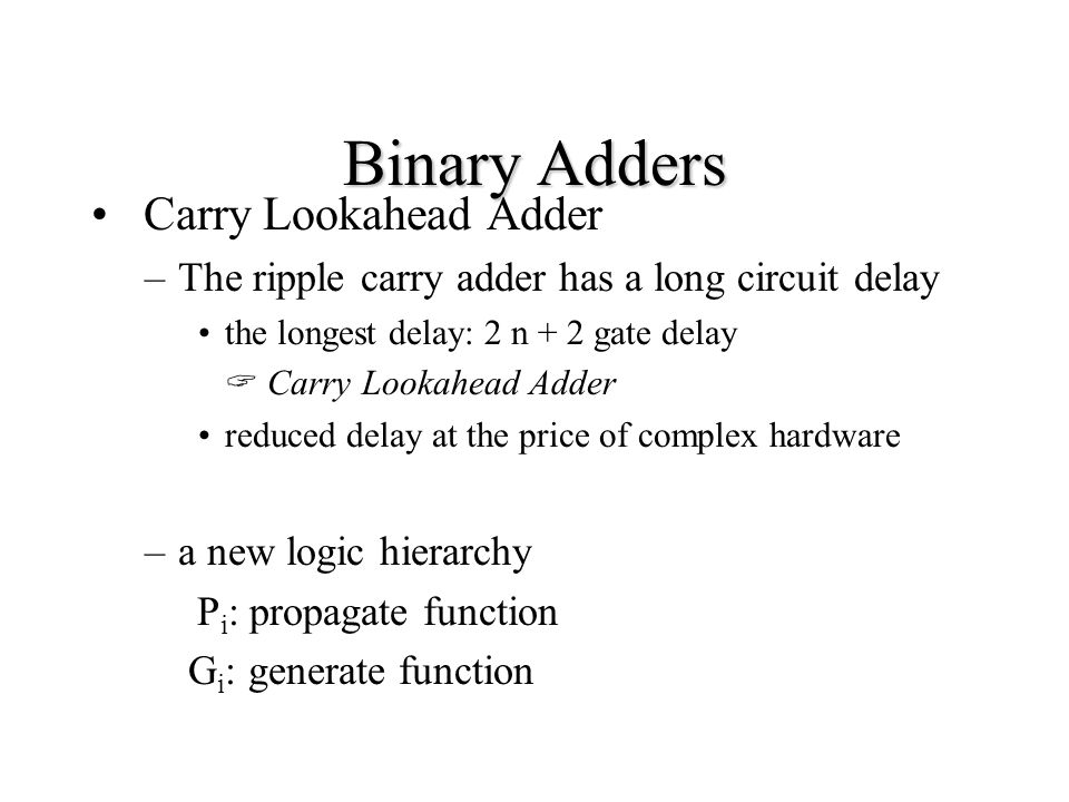 carry look ahead adder pdf