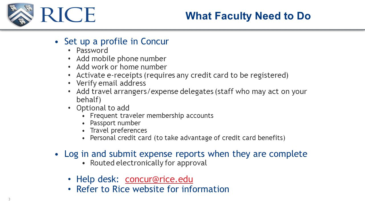 What Faculty Need To Do Set Up A Profile In Concur