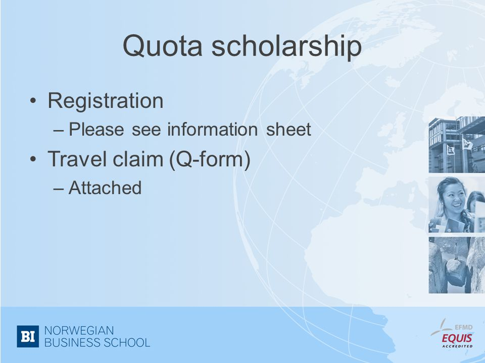 Quota scholarship Registration Travel claim (Q-form)