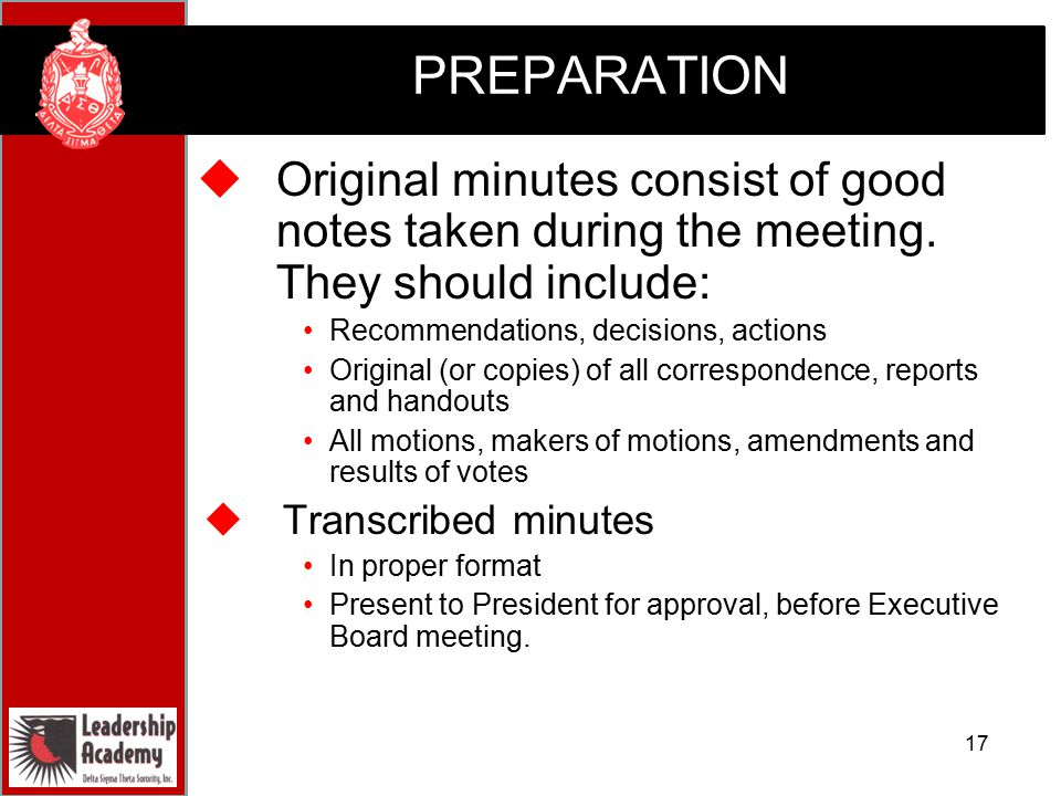 proper format for meeting minutes