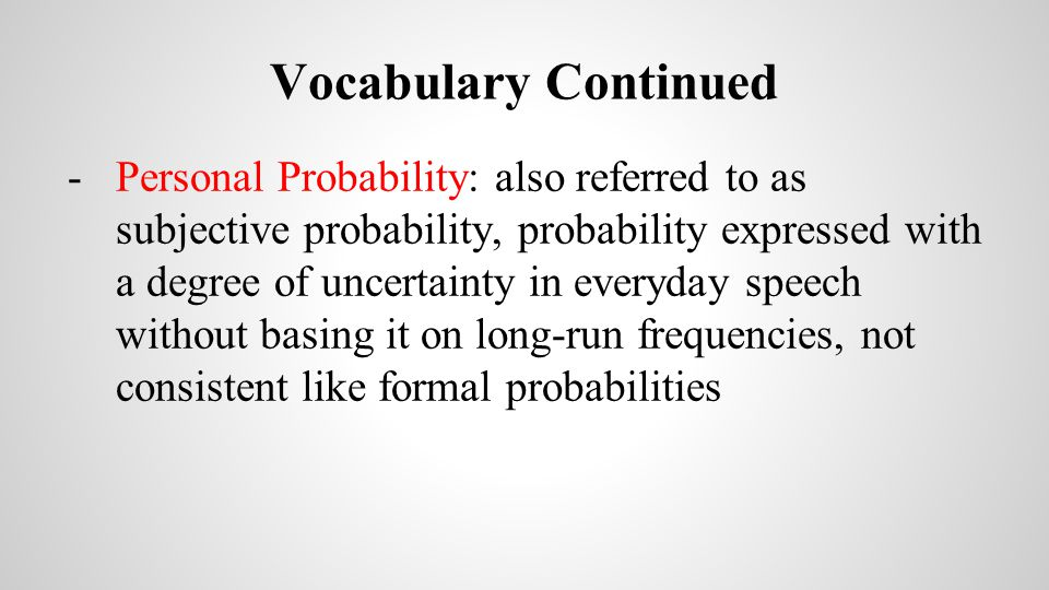 Vocabulary Continued