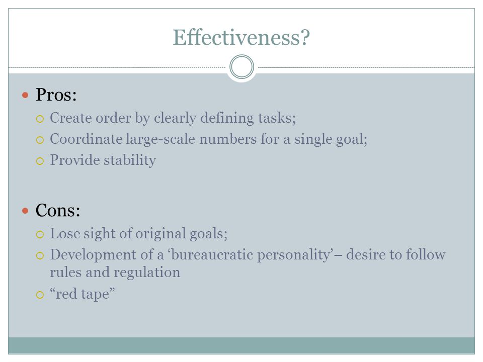 Effectiveness Pros: Cons: Create order by clearly defining tasks;