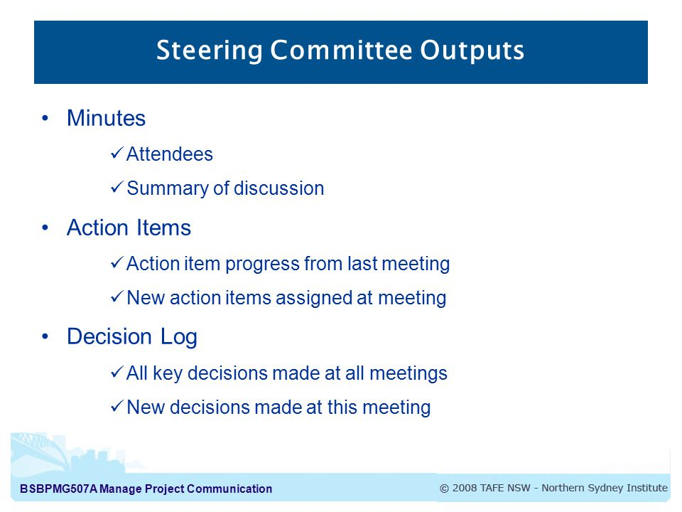 Steering Committee Outputs