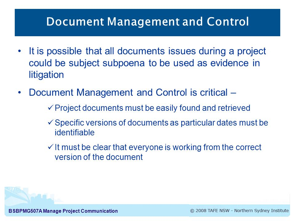 Document Management and Control