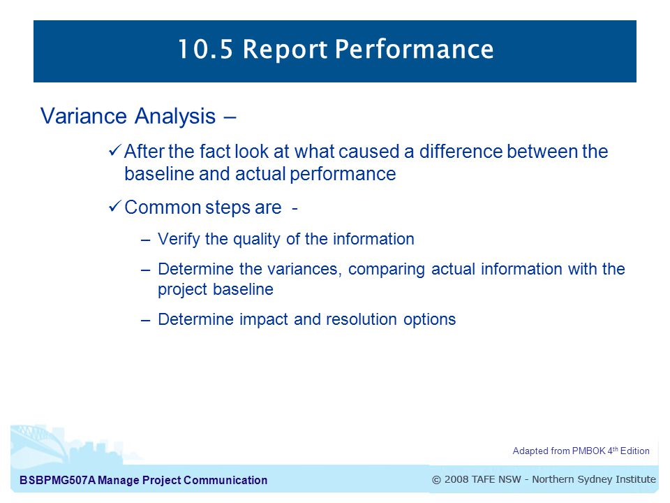 10.5 Report Performance Variance Analysis –