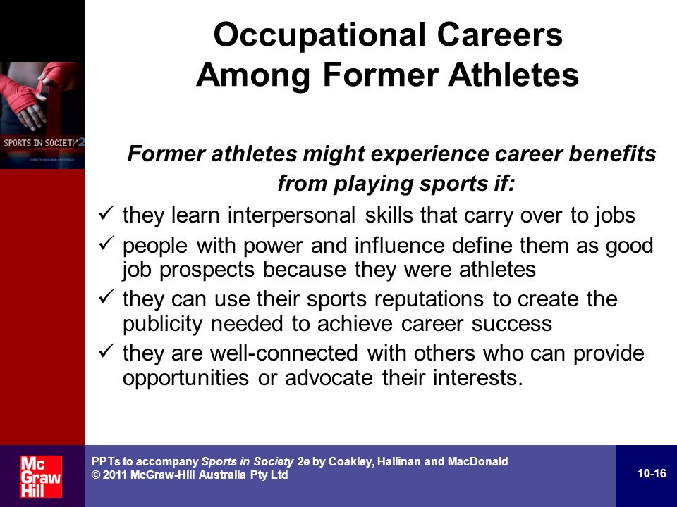 the influence of society on success of an athlete - people with power and influence define them as good job prospects because they were athletes - they can use their sport reputations to create the publicity needed to achieve career success - they are well connected with others who can provide opportunities or advocate their interests.