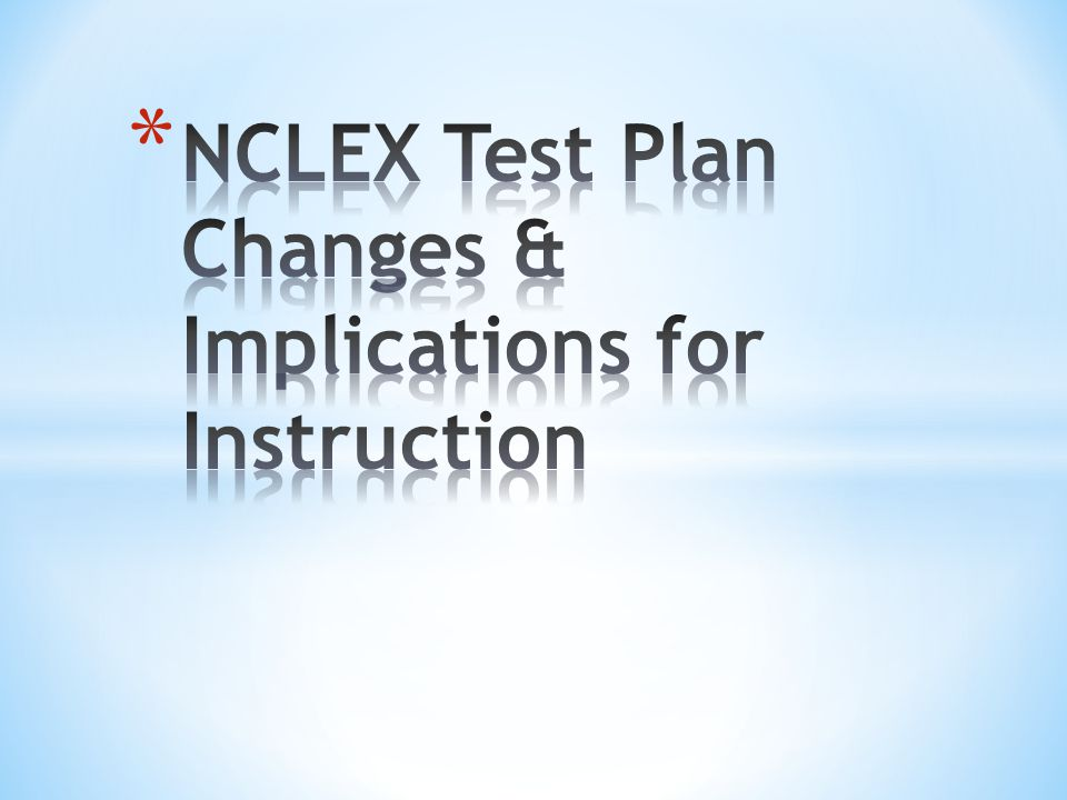 Nclex test plan changes implications for instruction ppt video nclex test plan changes implications for instruction ppt video online download malvernweather Gallery
