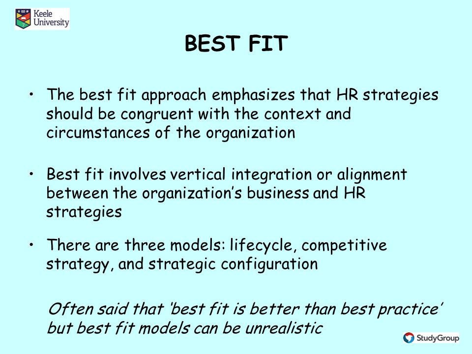 Congruence between an organisation s strategy structure and hrm practices