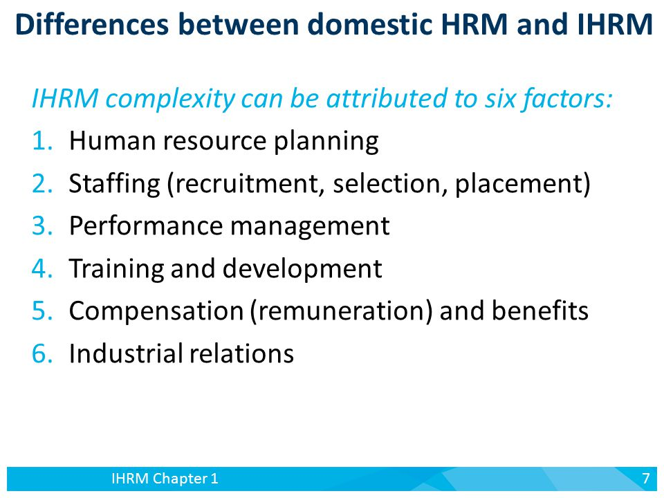 moderating the differences between domestic and ihrm Be acutely aware of differences in the 'way of doing things' from country to   defined in chapter 1, capturing regional and national influences on ihrm   government intervention into economies in order to moderate market forces and  protect  local environment, is more likely in certain areas of hrm because of  the.